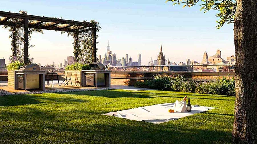 NYC Apartments with A Green Roof Common Area