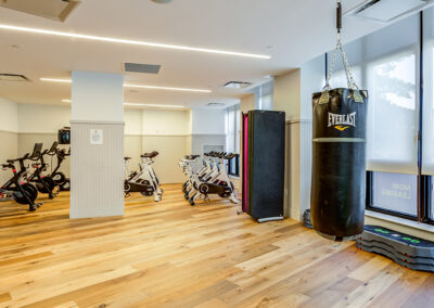 Fit by 363 yoga studio with boxing equipment