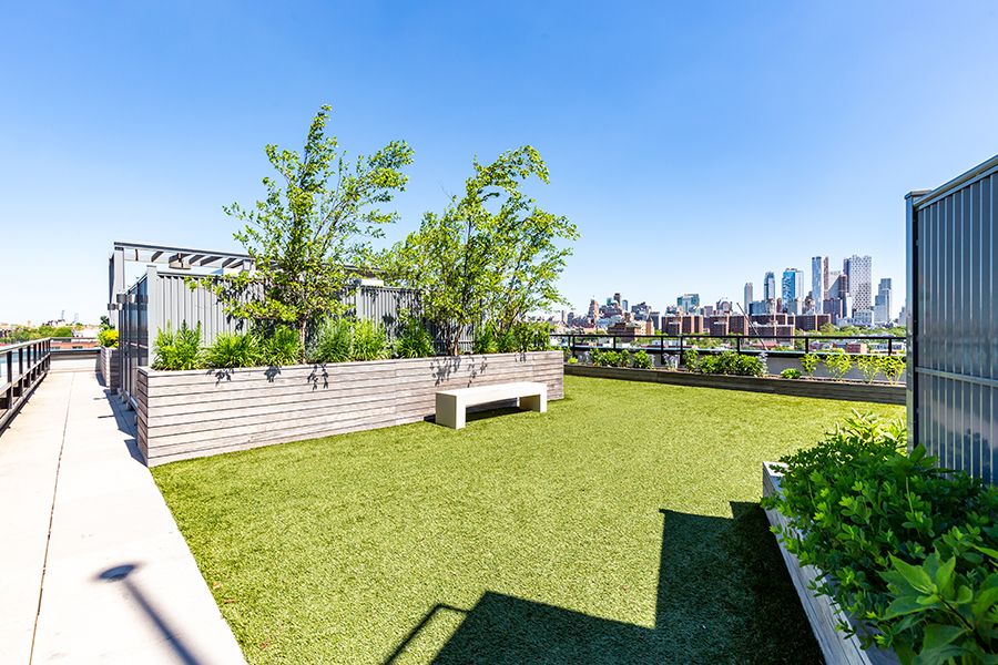 363 Bond Street rooftop lawn with planters and seating for social gatherings