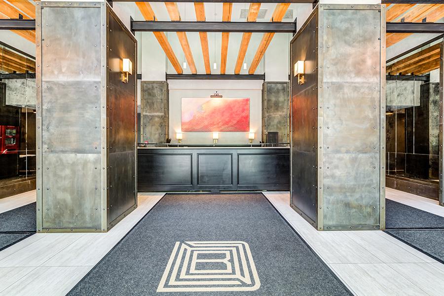 363 Bond Street interior lobby with custom chandeliers