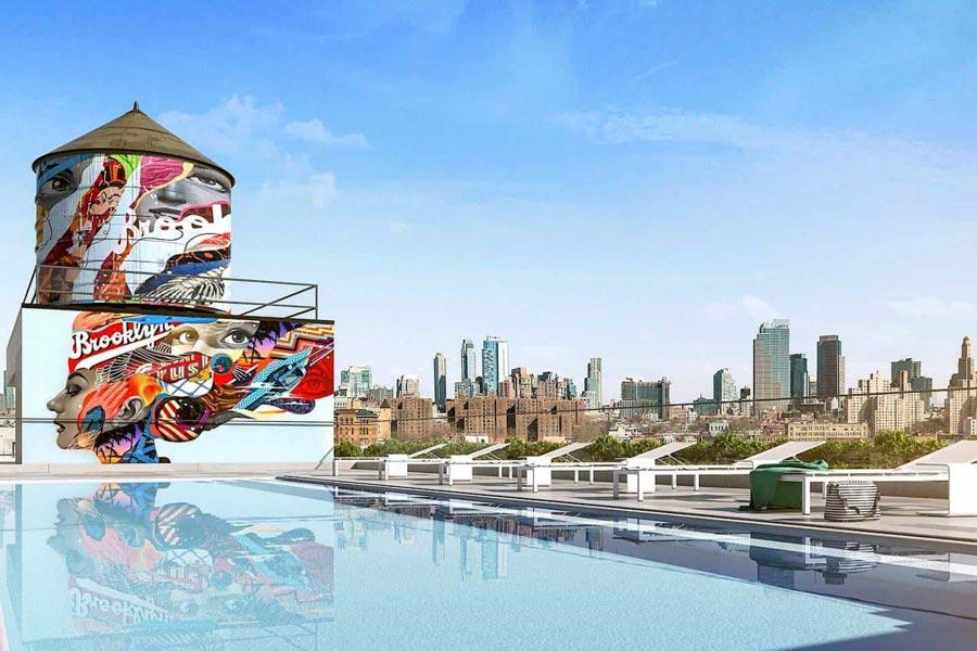 363 Bond Street Brooklyn Crush rooftop pool with custom mural by Tristan Eaton